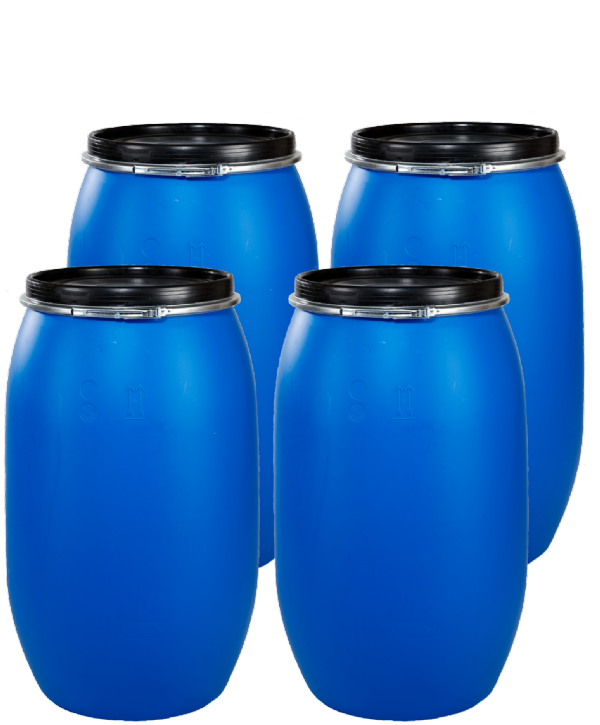 120 Litre Full Open Top Plastic Drum - Pack of 4 Drums